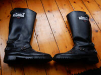 FRANK THOMAS CLASSIC LEATHER MOTORCYCLE BOOTS BLACK SIZE 10
