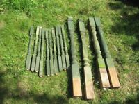 4 Colonial Decking posts and 10 pillars with top and bottom braces