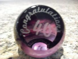 """A Useful Caithness Glass Paperweight Etched """"40th """"and """" Congratulations""""As Pictured."""