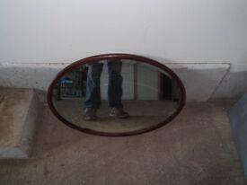 oak framed oval bevel glass mirror