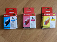 PRICE REDUCED - Canon Ink Cartridges (Cyan, Magenta and Yellow)