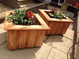 2 x Handmade treated planters , large solid , free delivery