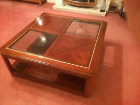 Glass coffee table, rosewood, perfect condition