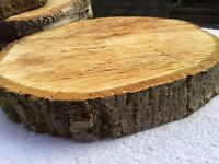 Log centrepieces for wedding tables