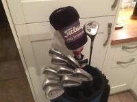 Golf clubs-Titleist Driver-Titleist 3 Wood-Titleist Irons (3-SW) Titleist Vokey Wedge-Titleist Bag