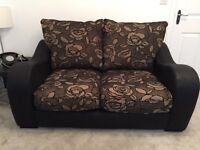 2 x Black and Teal two seater sofa and 1 x matching armchair