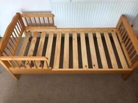 Solid pine toddler bed frame