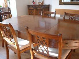 Regency Style Ornate Extending Dining Table