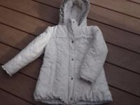 Autograph at M&S girls winter white fleece lined coat age 5-6