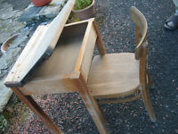 Vintage Child's school desk and freestanding chair