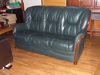 SOFA FULL LEATHER HIGH BACK 3 SEATER IN GREEN FREE EDINBURGH DELIVERY