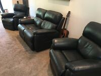 Reclining (black) 2 seater leather sofa & 2 arm chairs for sale. Excellent quality