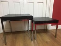 x2 BLACK NEST OF TABLES. PERFECT CONDITION
