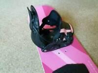 Snowboard, bindings and bag