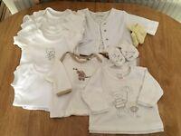 Neutral girls/boys baby bundle newborn/0-3 months babygrows T shirts including Next/Earlydays etc