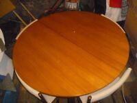 TEAK MCINTOSH CIRCULAR EXTENDING TABLE 4 CHAIRS MID CENTURY