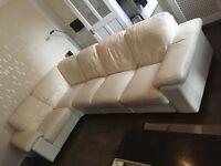 Cream Leather Corner Sofa - fully demountable