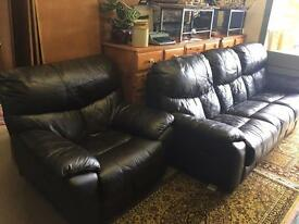 Leather 3 seater reclining sofa & chair Dark brown/ black