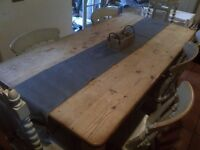 grey natural hessian/jute rustic table cloth runner to fit 6ft table,9 available