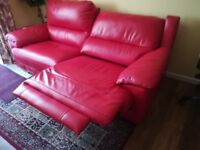 Excellent Like New Double Recliner Leather Sofa