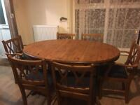 Ducal solid pine extendable dining table & 6 chairs, 2 carvers vgc