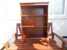 Bookcase - 3 tier shelving unit freestanding - Victorian legs/feet - Mahogany - cheap bargain