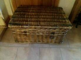 Large vintage wicker chest