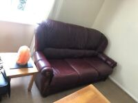Faux leather sofa and arm chair