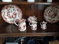 Mason's Mandalay red pottery plus poole pottery volcano vase