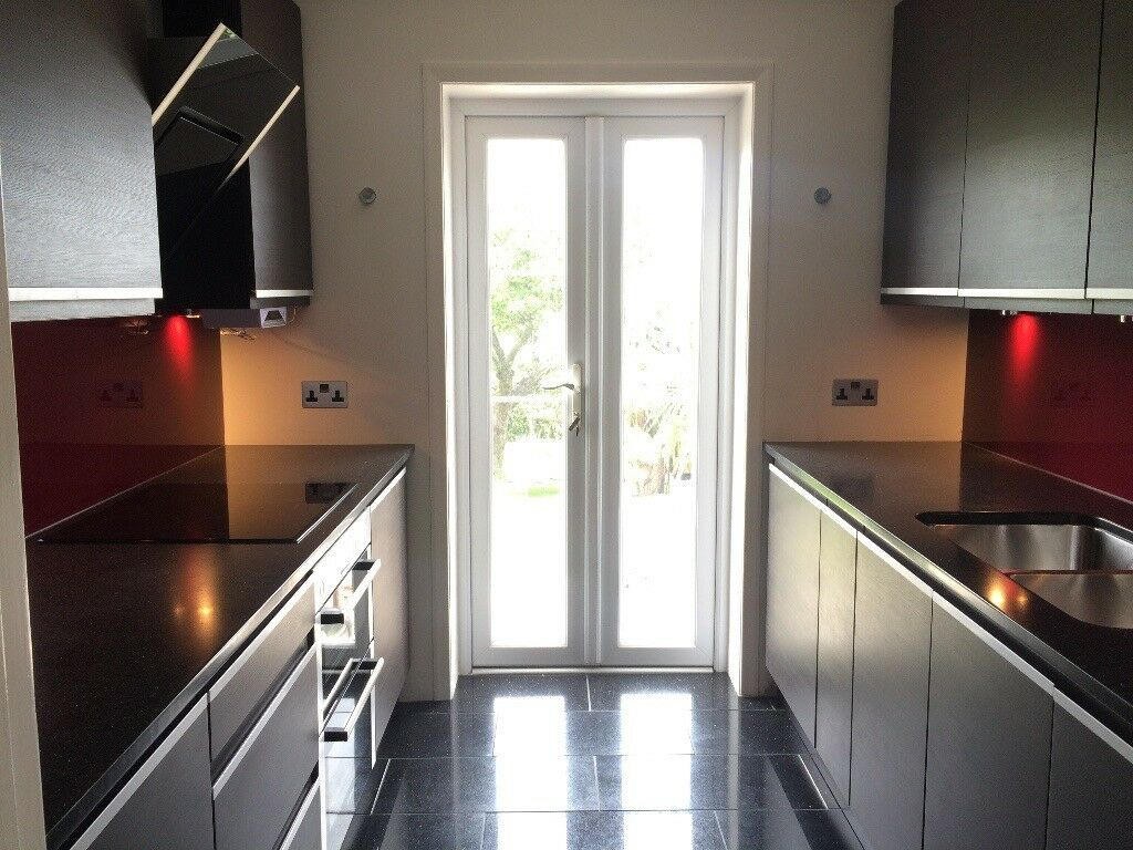 Stylish Contemporary Wood Effect Kitchen Units (and under counter fridges) For Sale