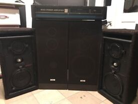 CARLSBRO 1000W AMPLIFIER with 2 AKAI & 2 1000W each speakers