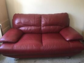 Ox blood red leather 2 seat sofa