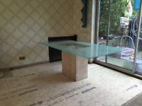 Quality Marble base Frosted Glass Dining Table