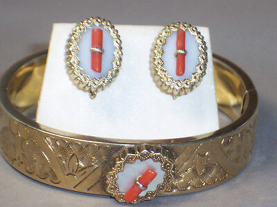 ANTIQUE VICTORIAN GOLD FILLED CORAL MOP BANGLE BRACELET & PIERCED EARRINGS SET