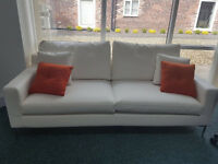 BARGAIN Hardly used 3 seater & 2 seater Dwell cream leather effect sofas