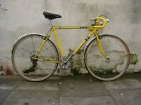 Mens Road Bike, Yellow, Lugged Steel Frame with Campagnolo Parts, JUST SERVICED/ CHEAP PRICE