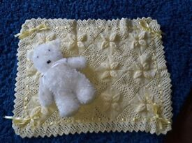 Handmade baby blanket and teddy