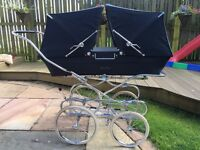 Vintage silver cross trident twin pram navy blue