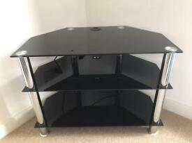 """BLACK GLASS TV STAND UP TO 40"""" IN SUPERB CONDITION"""