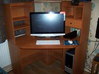 Corner Computer Desk with Shelves etc
