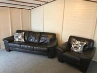 Dark brown full leather ~ 3-1-1 ~ sofas Set Suite