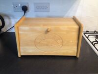 Traditional style solid pine bread bin with drop down front