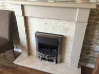 Electric fire plus surround and marble hearth