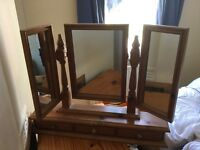 Wooden dressing table mirror.