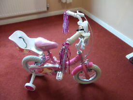 New Pink First GIRLS BIKE 12in wheel with stabilisers streamers doll seat, can post