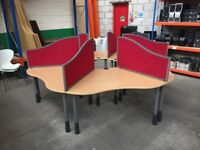 6 PERSON OFFICE DESK CLUSTERS/CALL CENTRE POD C/W DIVIDERS, MORE PODS IN STOCK