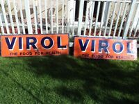 2 Virol Enamel Advertising Signs. Rare collectors items. Good condition.