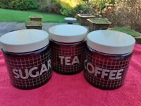 Set of attractive retro Glass Storage Jars for Coffee, Tea and Sugar