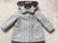 NEXT age 2-3 Grey lined coat with hood