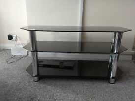 Black Glass TV Stand for upto 60 inch Plasma LCD LED 3D TV (100 cms) - Mint condition
